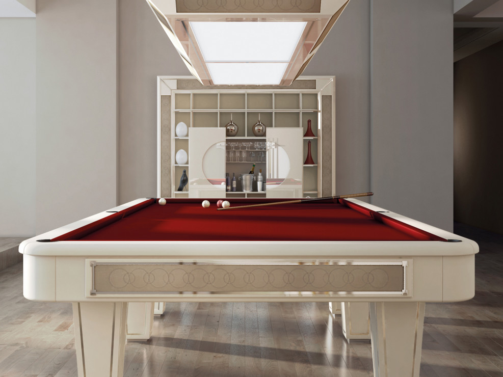 Luxury pool table for sale in solid mahogany by vismara design