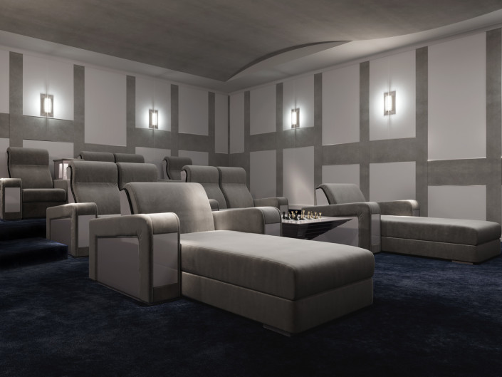Cinema-Chaise for dream home theater room by Vismara