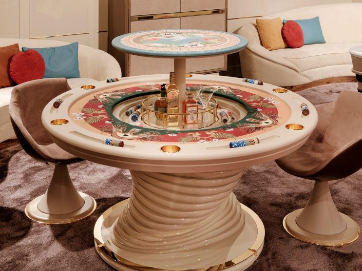Luxury poker table with Bar