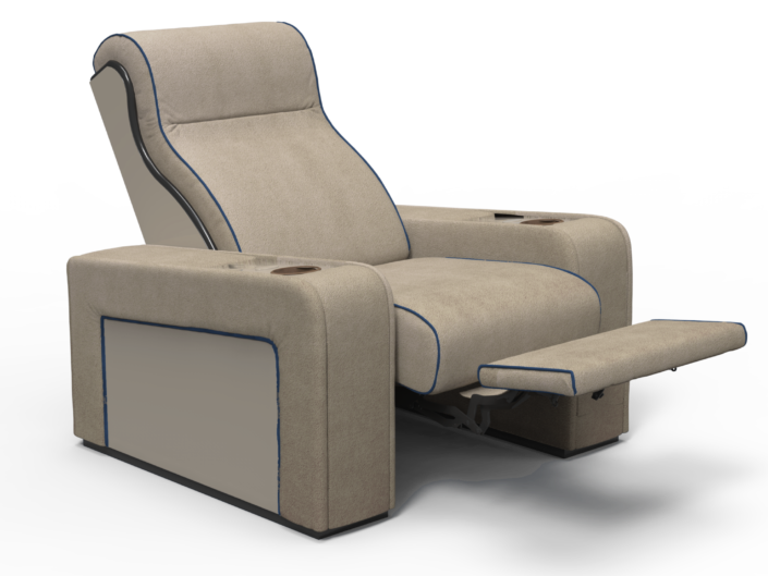 Movie theater chair in beige leather with reclining mechanism