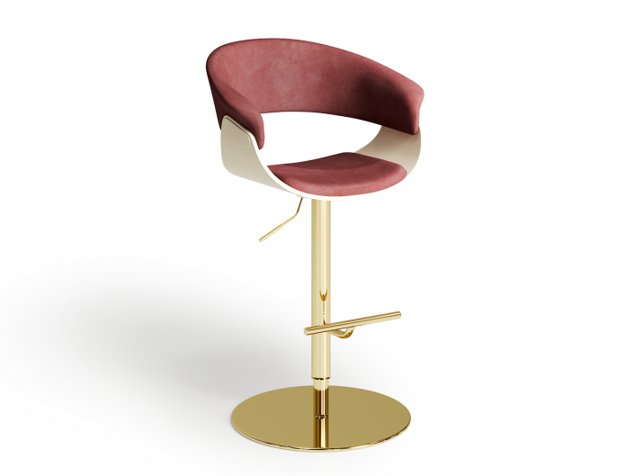 Gold plated bar stool in Nubuck leather