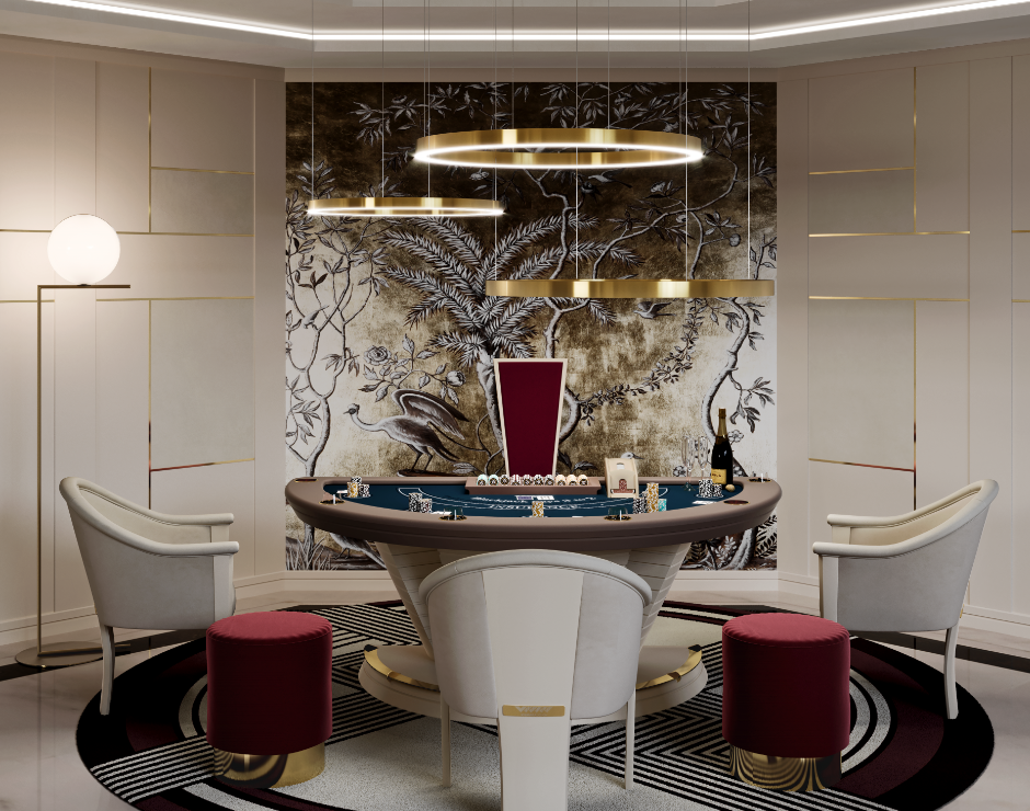 luxury game room with blackjack table