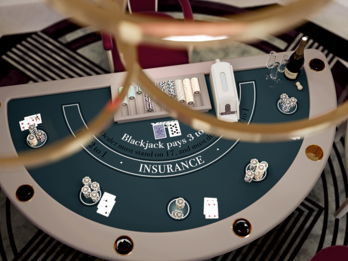 blackjack table in contemporary style