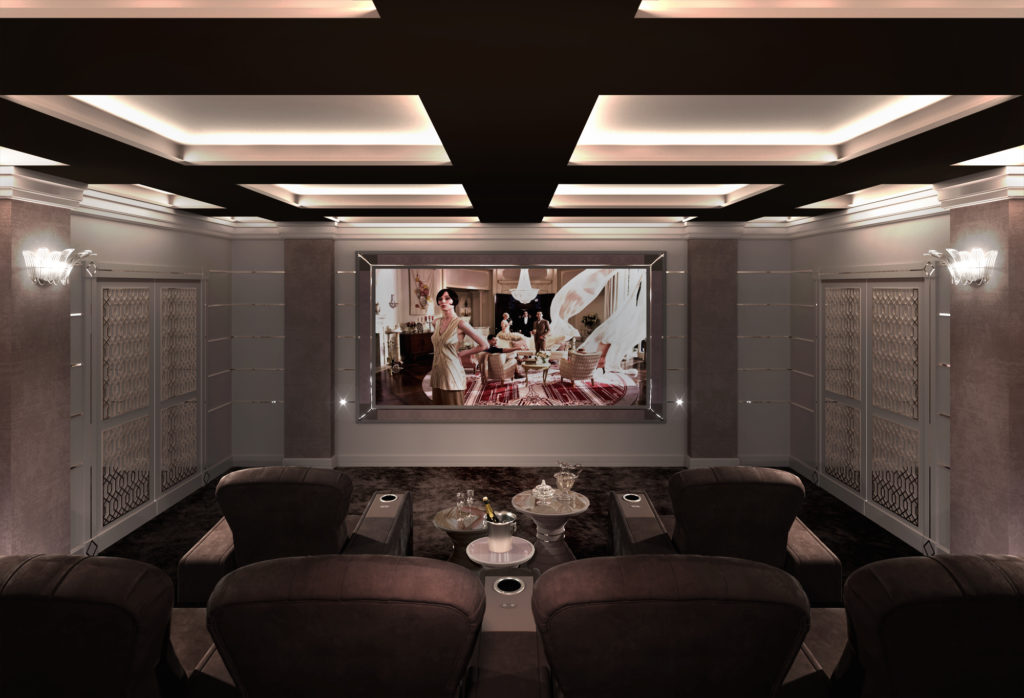 Luxury home cinema room in Shanghai with home cinema seating
