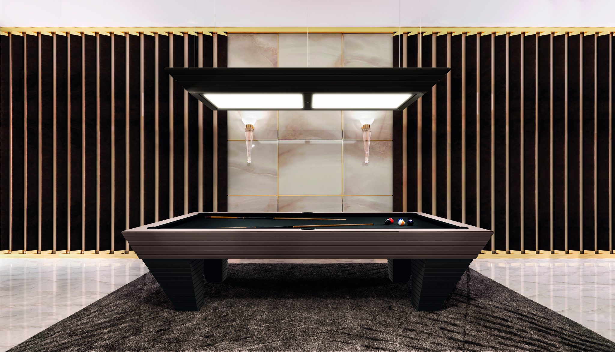 man cave with luxury pool table