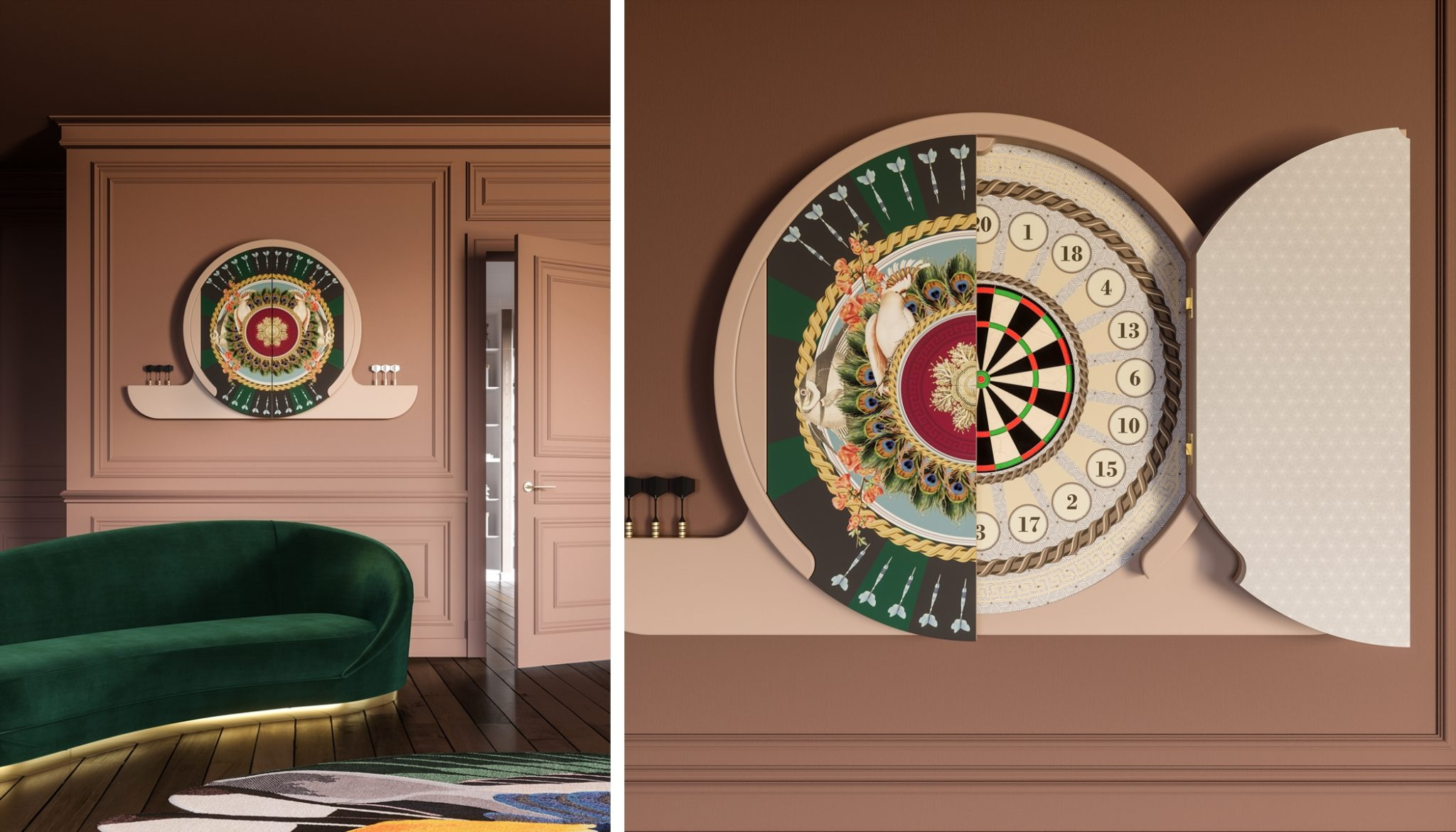 Modern Dartboard Cabinet made in Italy